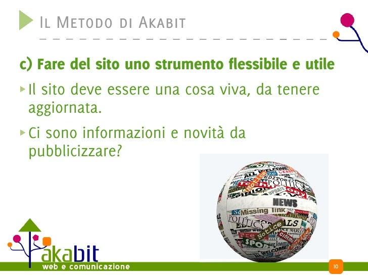 Il Metodo di Akabit  c) Fare del sito uno strumento flessibile e utile  Il sito deve essere una cosa viva, da tenere  aggi...