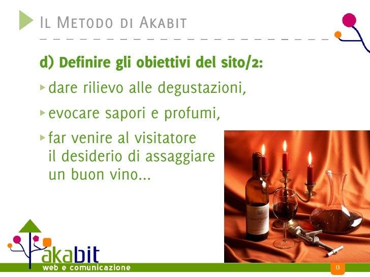 Il Metodo di Akabit  d) Definire gli obiettivi del sito/2:  dare rilievo alle degustazioni,  evocare sapori e profumi,  fa...