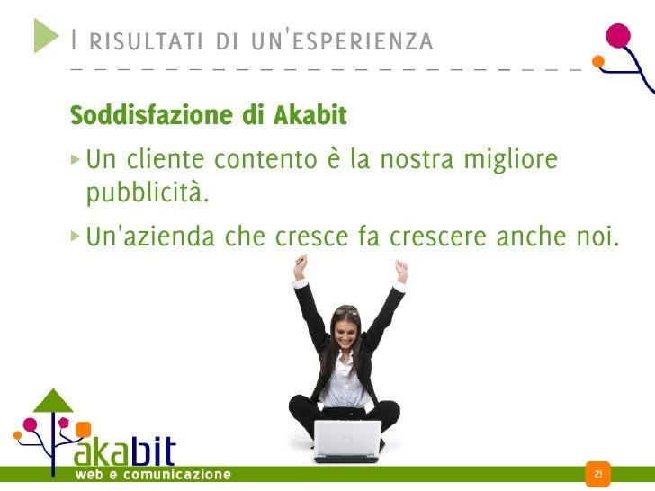 I risultati di un'esperienza  Soddisfazione di Akabit  Un cliente contento è la nostra migliore  pubblicità.  Un'azienda c...