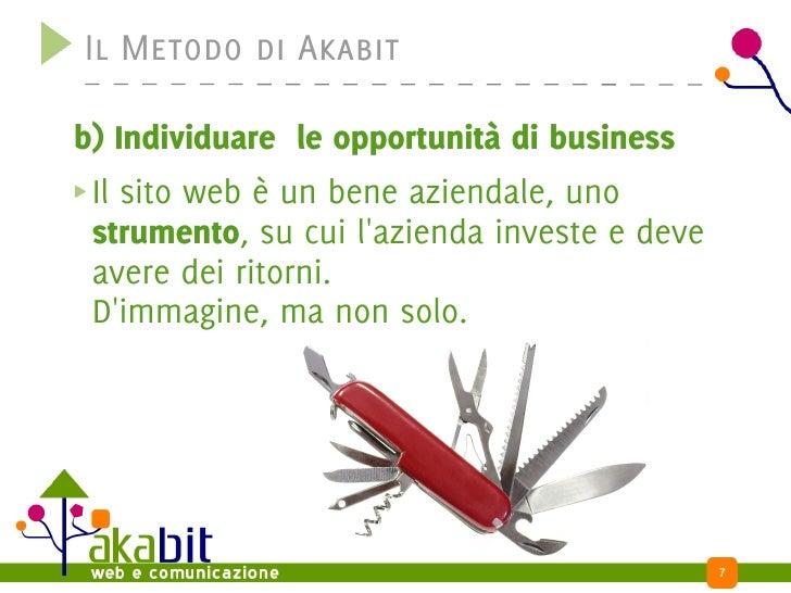 Il Metodo di Akabit  b) Individuare le opportunità di business  Il sito web è un bene aziendale, uno  strumento, su cui l'...