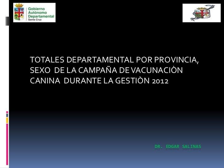TOTALES DEPARTAMENTAL POR PROVINCIA,SEXO DE LA CAMPAÑA DE VACUNACIÒNCANINA DURANTE LA GESTIÒN 2012                        ...