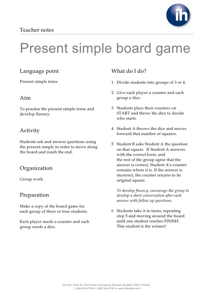 Teacher notesPresent simple board gameLanguage point                                                   What do I do?Presen...