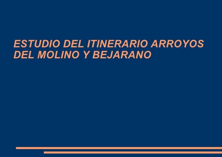 ESTUDIO DEL ITINERARIO ARROYOS DEL MOLINO Y BEJARANO