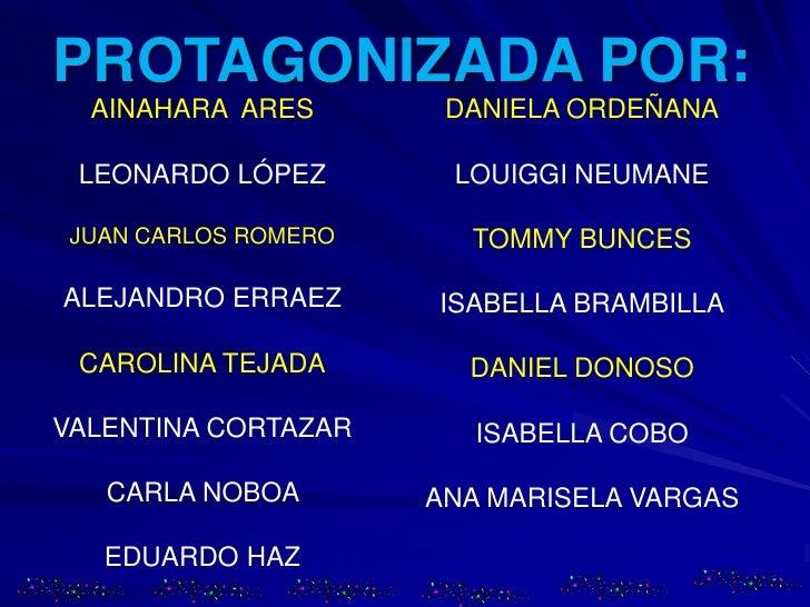 PROTAGONIZADA POR:<br />AINAHARA  ARES<br />LEONARDO LÓPEZ<br />JUAN CARLOS ROMERO<br />ALEJANDRO ERRAEZ<br />CAROLINA TEJ...