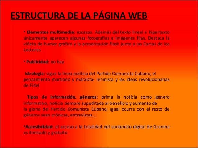 ESTRUCTURA DE LA PÁGINA WEB • Elementos multimedia: escasos. Además del texto lineal e hipertexto únicamente aparecen algu...