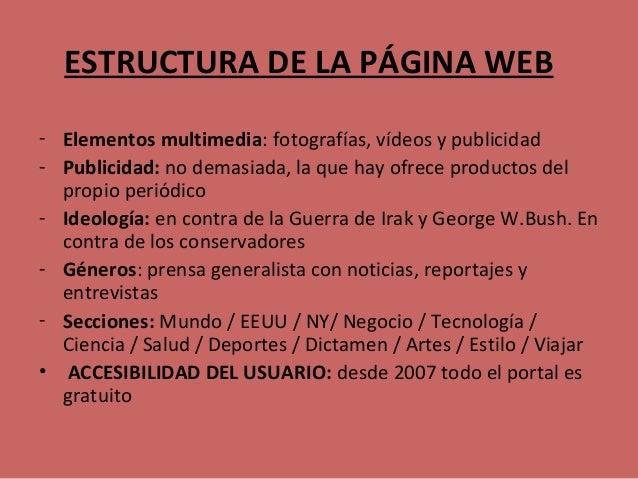 ESTRUCTURA DE LA PÁGINA WEB - Elementos multimedia: fotografías, vídeos y publicidad - Publicidad: no demasiada, la que ha...