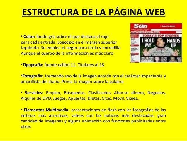 ESTRUCTURA DE LA PÁGINA WEB • Color: fondo gris sobre el que destaca el rojo para cada entrada. Logotipo en el margen supe...