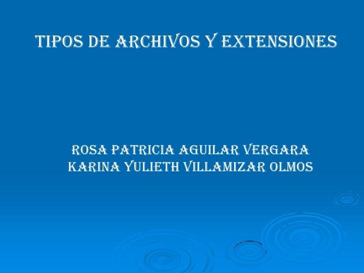 TIPOS DE ARCHIVOS Y EXTENSIONES<br />ROSA PATRICIA AGUILAR VERGARA<br />KARINA YULIETH VILLAMIZAR OLMOS<br />