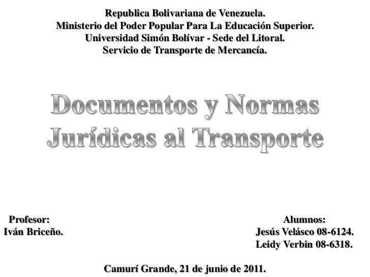 Republica Bolivariana de Venezuela.<br />Ministerio del Poder Popular Para La Educación Superior.<br />Universidad Simón B...