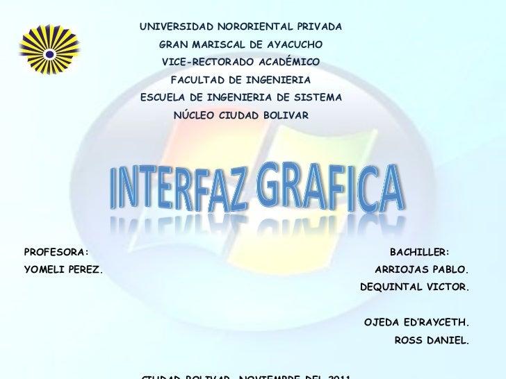 UNIVERSIDAD NORORIENTAL PRIVADA GRAN MARISCAL DE AYACUCHO VICE-RECTORADO ACADÉMICO FACULTAD DE INGENIERIA ESCUELA DE INGEN...