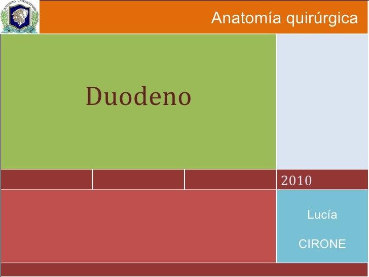 Anatomía quirúrgica 2010 Duodeno Lucía CIRONE