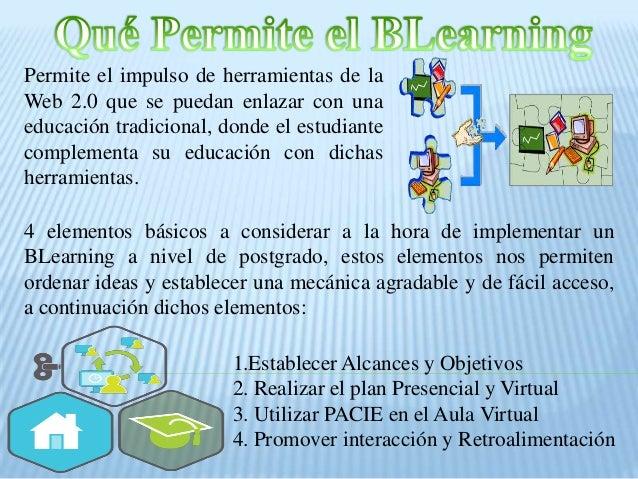 Permite el impulso de herramientas de la Web 2.0 que se puedan enlazar con una educación tradicional, donde el estudiante ...