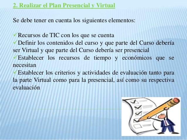2. Realizar el Plan Presencial y Virtual Se debe tener en cuenta los siguientes elementos: Recursos de TIC con los que se...