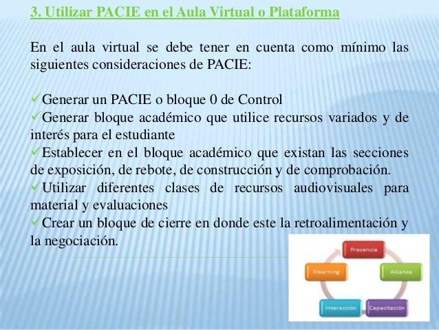 3. Utilizar PACIE en el Aula Virtual o Plataforma En el aula virtual se debe tener en cuenta como mínimo las siguientes co...