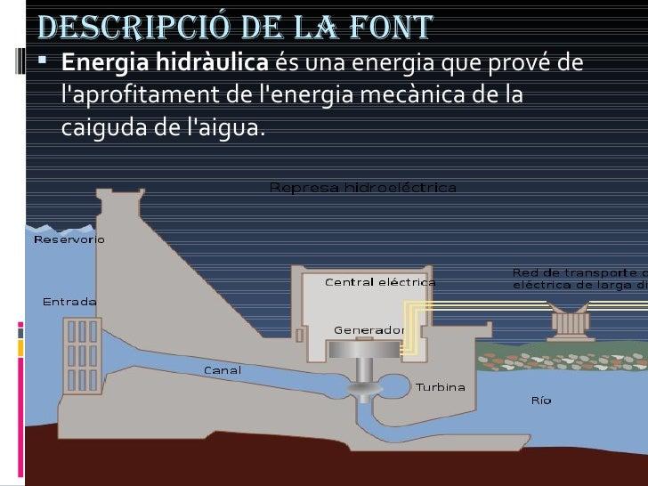 Descripció de la font <ul><li>Energia hidràulica  és una energia que prové de l'aprofitament de l'energia mecànica de la c...