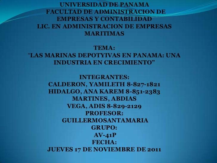 UNIVERSIDAD DE PANAMA     FACULTAD DE ADMINISTRACION DE        EMPRESAS Y CONTABILIDAD  LIC. EN ADMINISTRACION DE EMPRESAS...
