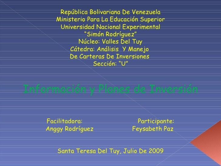 República Bolivariana De Venezuela        Ministerio Para La Educación Superior         Universidad Nacional Experimental ...