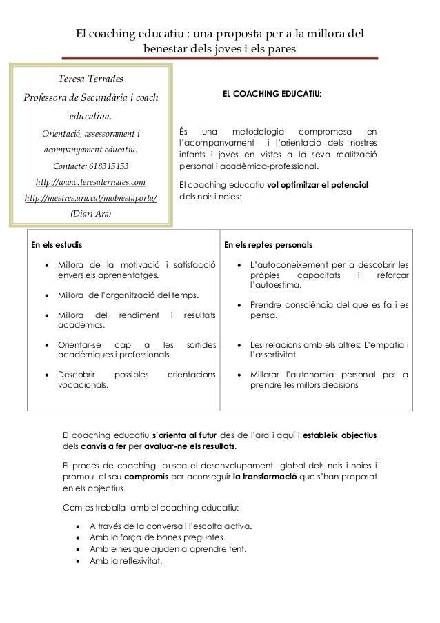 El coaching educatiu : una proposta per a la millora del                           benestar dels joves i els pares        ...