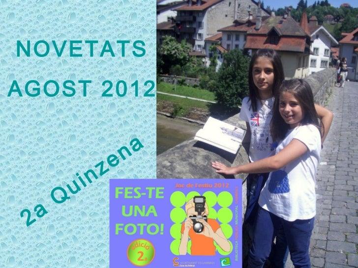 NOVETATSAGOST 2012                        n a                  z e           u in       Q 2 a