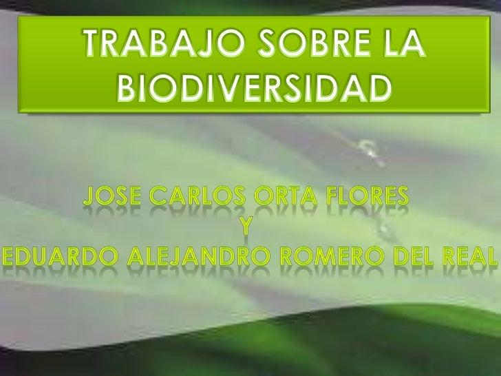 TRABAJO SOBRE LA BIODIVERSIDAD<br />JOSE CARLOS ORTA FLORES <br />Y<br /> EDUARDO ALEJANDRO ROMERO DEL REAL<br />