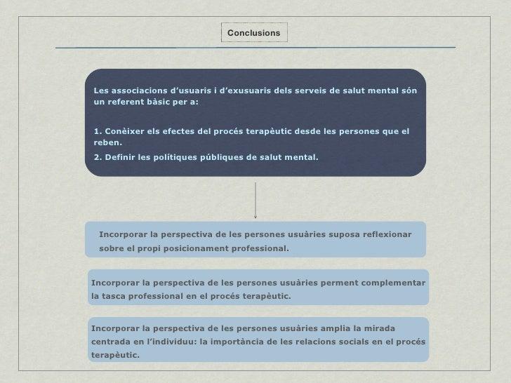 Conclusions Les associacions d'usuaris i d'exusuaris dels serveis de salut mental són un referent bàsic per a: 1. Conèixer...