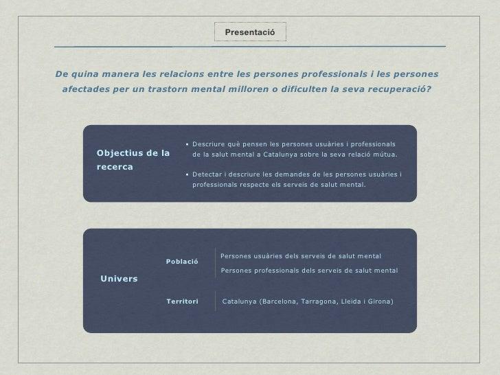 Presentació De quina manera les relacions entre les persones professionals i les persones afectades per un trastorn mental...