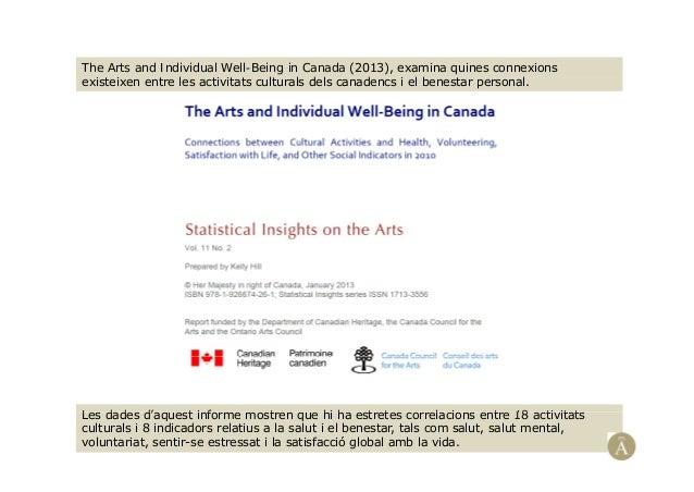 The Arts and Individual Well-Being in Canada (2013), examina quines connexionsi t i t l ti it t lt l d l d i l b t lexiste...