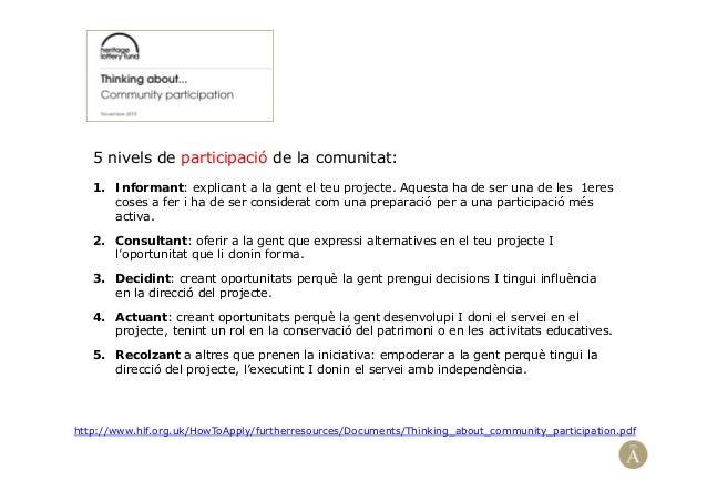 5 nivels de participació de la comunitat:1. Informant: explicant a la gent el teu projecte. Aquesta ha de ser una de les 1...