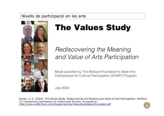 Nivells de participació en les artsBrown, A. S. (2004). The Values Study: Rediscovering the Meaning and Value of Arts Part...
