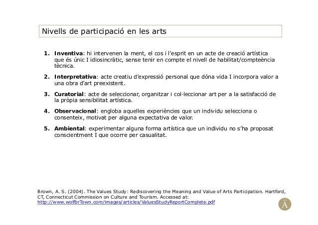 Nivells de participació en les arts1. Inventiva: hi intervenen la ment, el cos i l'esprit en un acte de creació artísticaq...