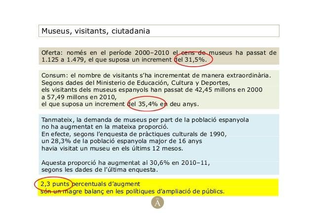 Museus, visitants, ciutadaniaOferta: només en el període 2000–2010 el cens de museus ha passat de1 125 a 1 479 el que supo...