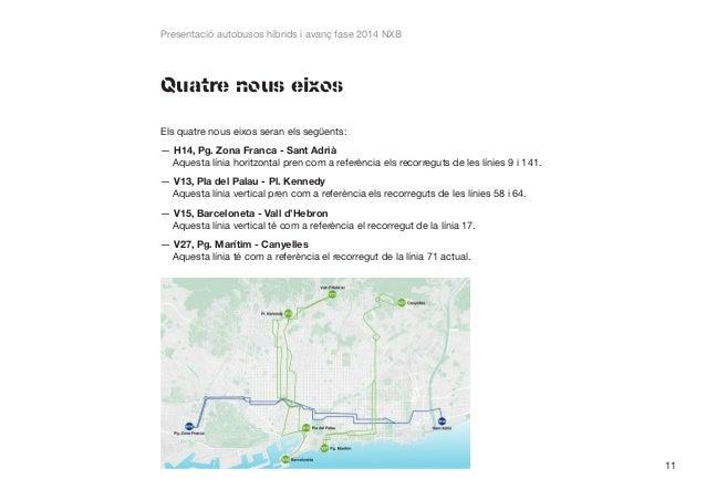 Presentació autobusos híbrids i avanç fase 2014 NXB  Quatre nous eixos Els quatre nous eixos seran els següents: ——H14, Pg...