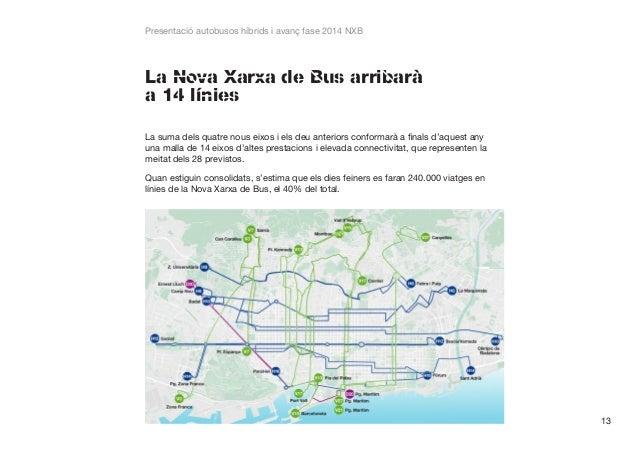 Presentació autobusos híbrids i avanç fase 2014 NXB  La Nova Xarxa de Bus arribarà a 14 línies La suma dels quatre nous ei...