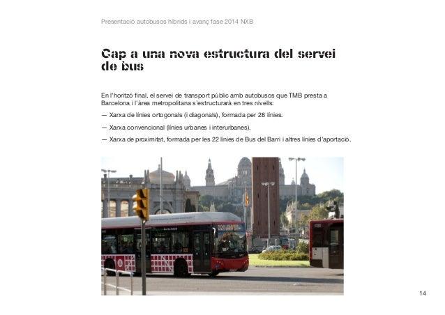 Presentació autobusos híbrids i avanç fase 2014 NXB  Cap a una nova estructura del servei de bus En l'horitzó final, el se...