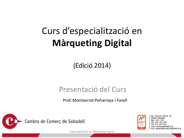 Curs d'especialització en Màrqueting Digital (Edició 2014)  Presentació del Curs Prof. Montserrat Peñarroya i Farell  Espe...