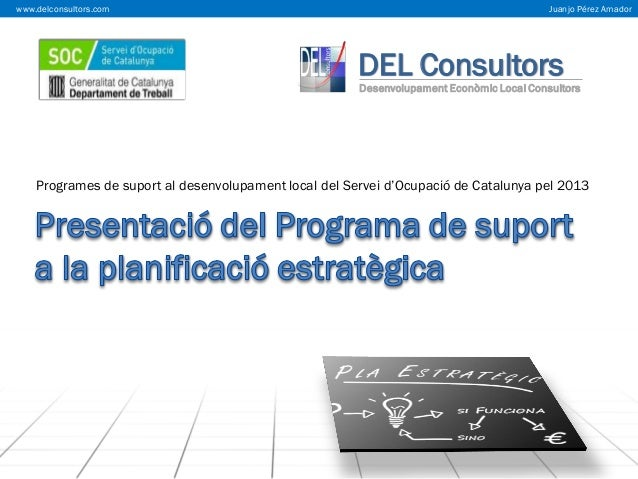 www.delconsultors.com  Juanjo Pérez Amador  DEL Consultors  Desenvolupament Econòmic Local Consultors  Programes de suport...