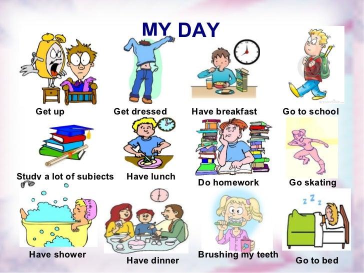 Английский распорядок дня в картинках для детей