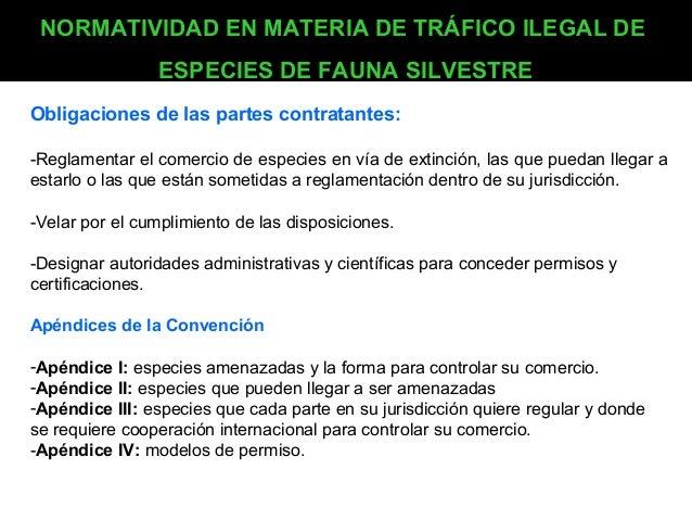 NORMATIVIDAD EN MATERIA DE TRÁFICO ILEGAL DE ESPECIES DE FAUNA SILVESTRE Obligaciones de las partes contratantes: -Reglame...