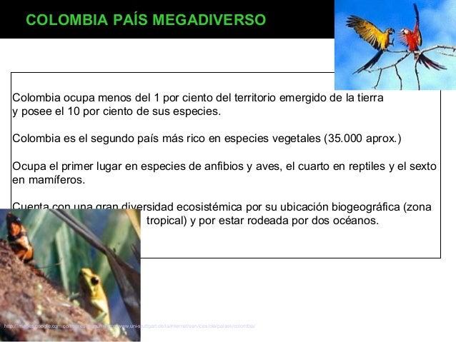 COLOMBIA PAÍS MEGADIVERSO  Colombia ocupa menos del 1 por ciento del territorio emergido de la tierra y posee el 10 por ci...