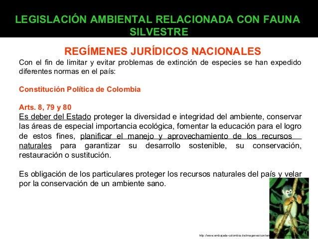 LEGISLACIÓN AMBIENTAL RELACIONADA CON FAUNA SILVESTRE REGÍMENES JURÍDICOS NACIONALES Con el fin de limitar y evitar proble...