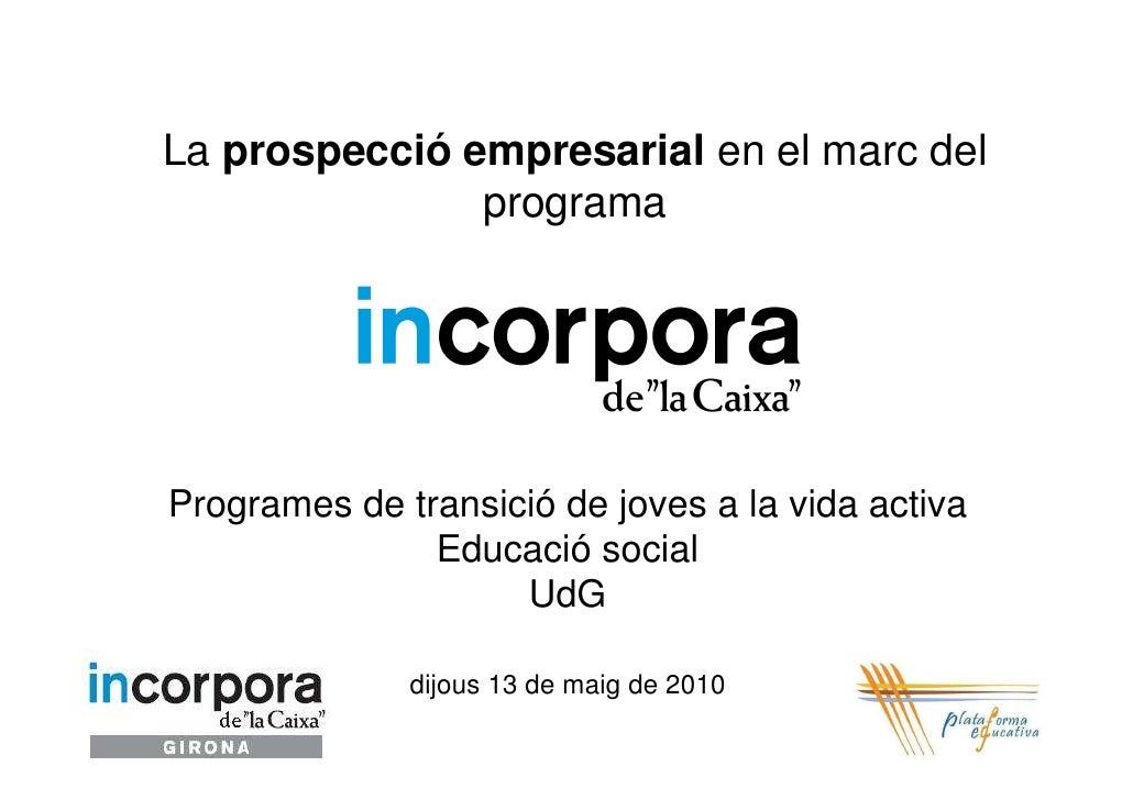 La prospecció empresarial en el marc del                programa     Programes de transició de joves a la vida activa     ...