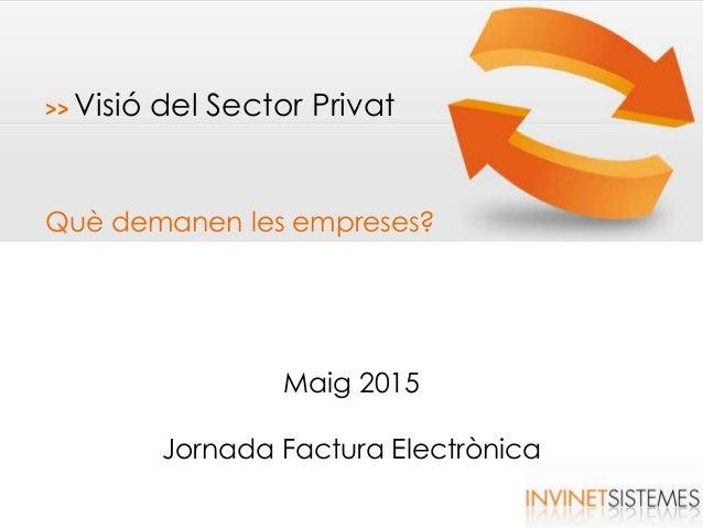 >> Visió del Sector Privat Què demanen les empreses? Maig 2015 Jornada Factura Electrònica