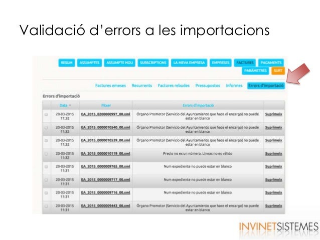 Validació d'errors a les importacions