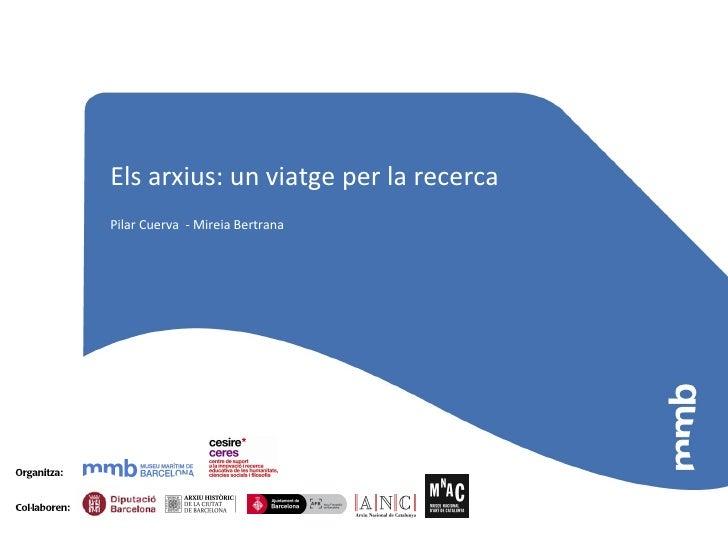 Els arxius: un viatge per la recerca               Pilar Cuerva - Mireia BertranaOrganitza:Col·laboren: