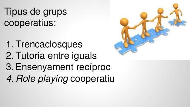1. Trencaclosques 2. Tutoria entre iguals 3. Ensenyament recíproc 4. Role playing cooperatiu Tipus de grups cooperatius: