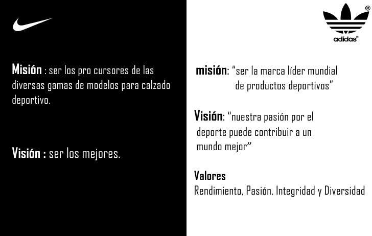 """misión :  """"ser la marca líder mundial de productos deportivos"""" Visión :  """"nuestra pasión por el deporte puede contribuir a..."""