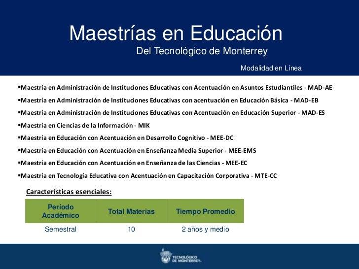 Maestrías en Educación                                          Del Tecnológico de Monterrey                              ...