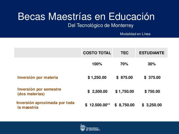 Becas Maestrías en Educación                         Del Tecnológico de Monterrey                                         ...