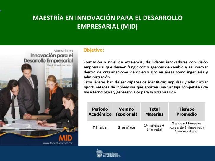 MAESTRÍA EN INNOVACIÓN PARA EL DESARROLLOMaestrías en Ingeniería y Ciencias Doctorados en Ingenierías y Ciencias          ...