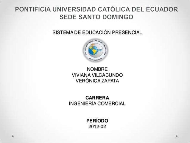 SISTEMA DE EDUCACIÓN PRESENCIAL            NOMBRE      VIVIANA VILCACUNDO       VERÓNICA ZAPATA           CARRERA     INGE...